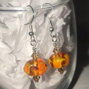 Orange Red Fire Handblown Glass Dangle Earrings